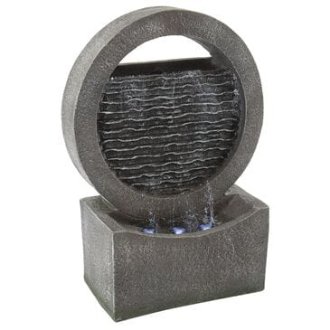 Timberlake Pure Garden Round LED Cascade Fountain in Stone Gray, , large