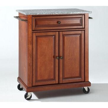 Crosley Furniture Solid Granite Top Portable Kitchen Cart in Classic Cherry, , large