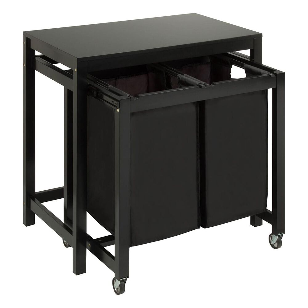 Honey Can Do Folding Table and Sorter Laundry Center in Black, , large