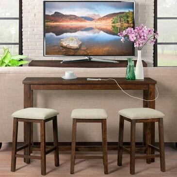 Mayberry Hill Jax Bar Table and Three Stools in Rich Walnut, , large
