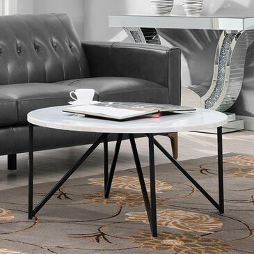 Mayberry Hill Cedric Cocktail Table in Seashell with Gunmetal Base, , large