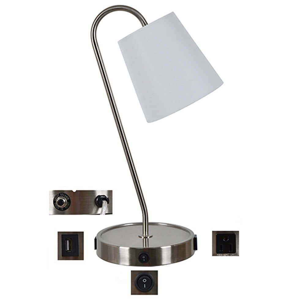 Crestview Collection Table Lamp with Charging Ports in Brushed Nickel, , large