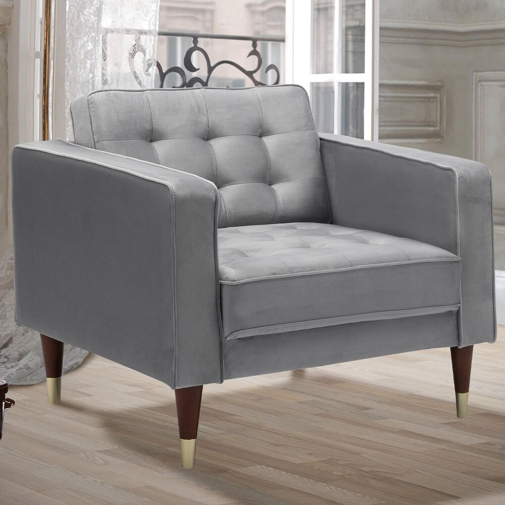 Blue River Somerset Club Chair in Grey Velvet  and Gold, , large