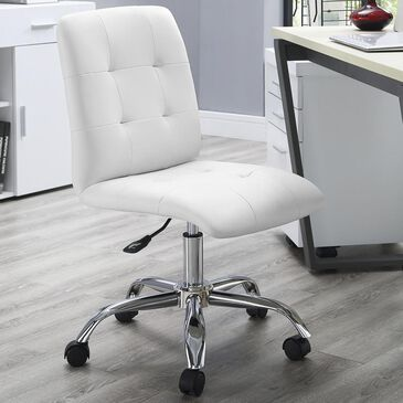 Modway Prim Armless Mid Back Office Chair in White, , large