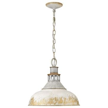 Golden Lighting Kinsley Large Pendant in Aged Galvanize Steel and Antique Ivory, , large