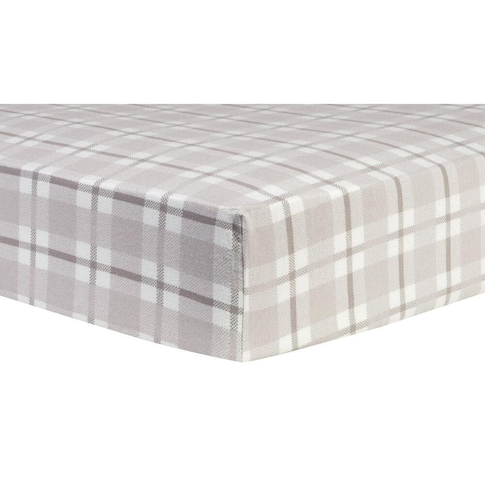 Trend Lab LLC Gray and White Plaid Deluxe Flannel Fitted Crib Sheet, , large