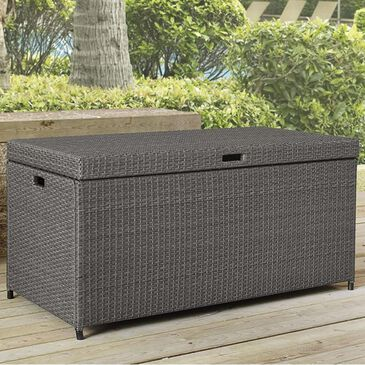 Crosley Furniture Palm Harbor Outdoor Wicker Storage Bin in Weathered Gray, , large
