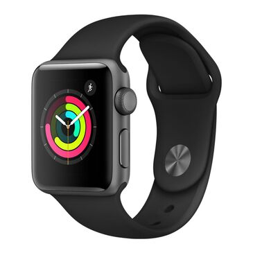 Apple Watch Series 3 (GPS) 42mm Space Gray Aluminum Case with Black Sports Band , Black, large