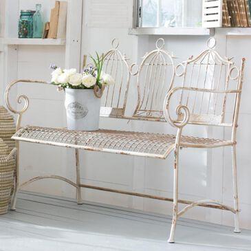 """Cape Craftsmen """"Three Birdcages"""" Garden Bench in Antique White, , large"""