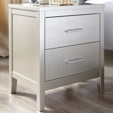 Signature Design by Ashley Olivet 2 Drawer Nightstand in Silvertone Metallic, , large
