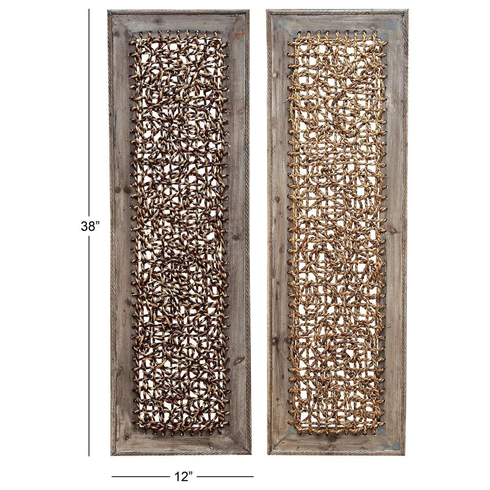 """Maple and Jade 38"""" x 12"""" Wall Panels in Brown (Set of 2), , large"""