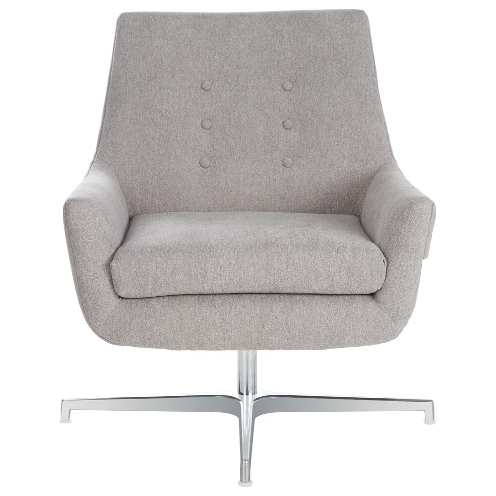 Safavieh Jayla Swivel Accent Chair in Light Grey and Silver, , large