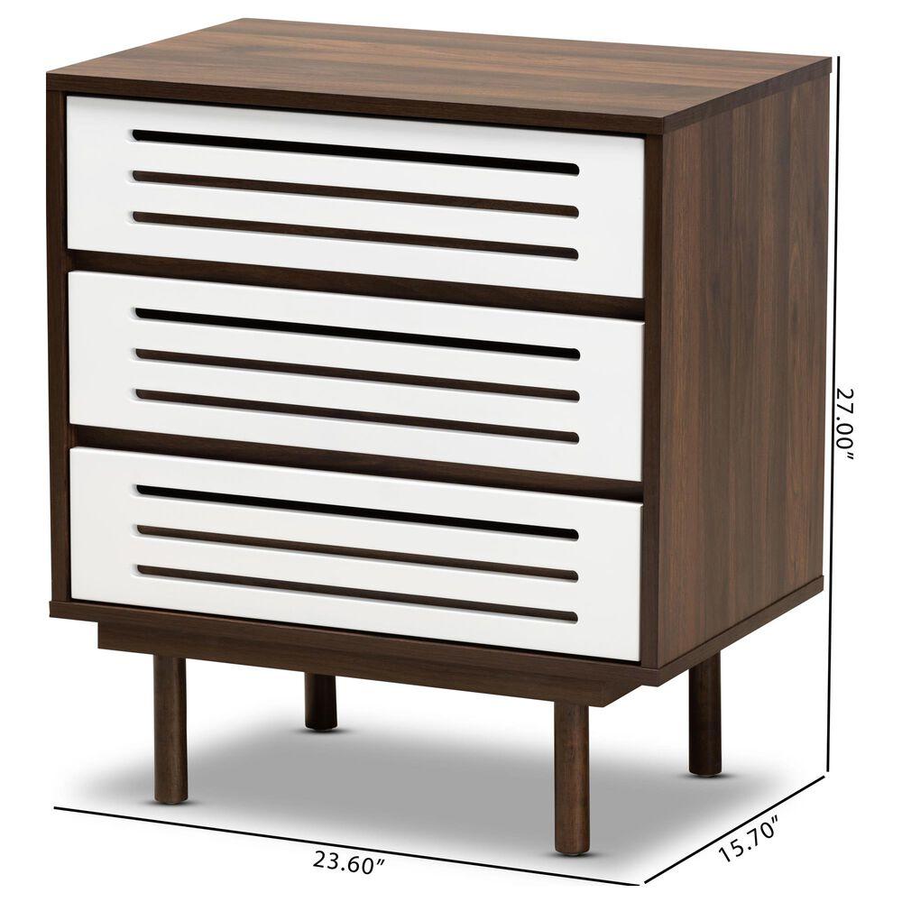 Baxton Studio Meike 3 Drawer Nightstand in Walnut/White, , large