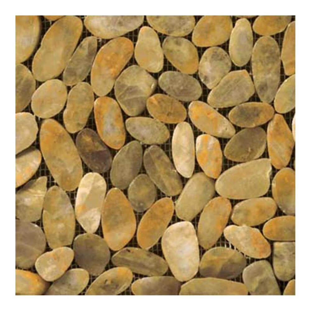 "Emser Rivera Flat Gold 12"" x 12"" Natural Stone Mosaic Sheet, , large"