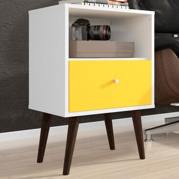 Dayton Liberty 1 Drawer Nightstand in White and Yellow, , large