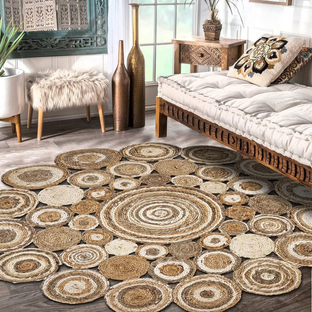 L&R Resources Natural Jute  4' Scalloped Bleach Gray Area Rug, , large