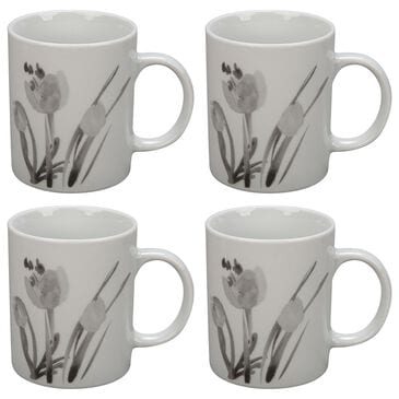 Bia Cordon Bleu 4-Piece Corie 12 Oz Mugs in Gray and White Floral, , large