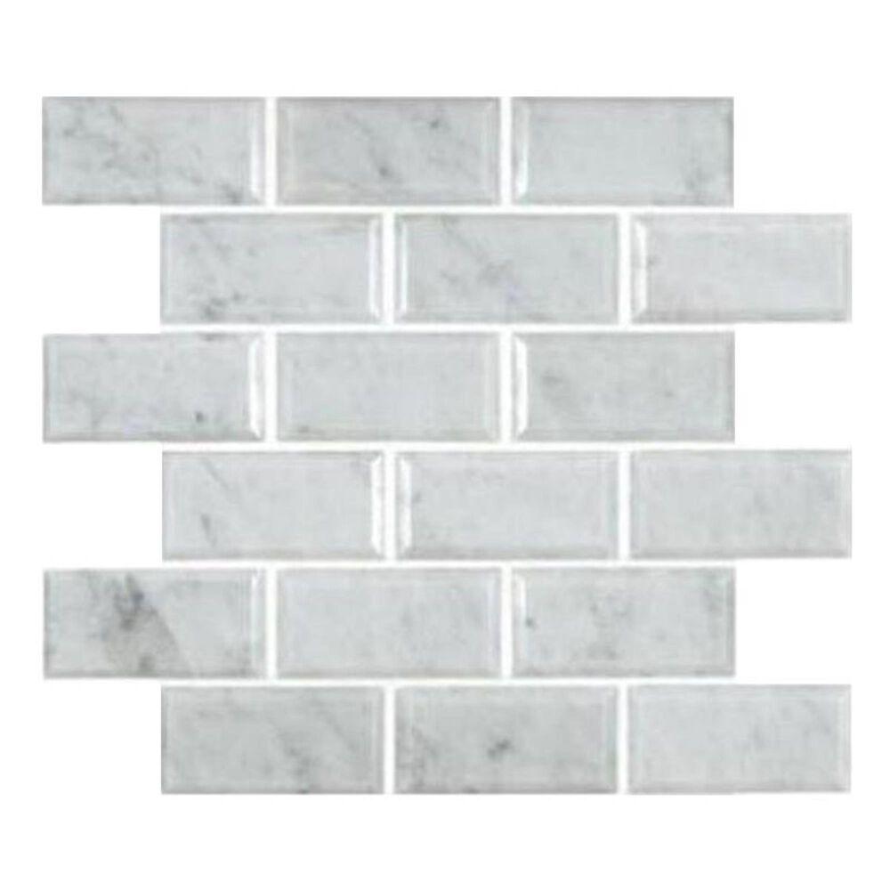 "MS International Marble Arabescato Carrara 12"" x 12"" Honed/Beveled Natural Stone Mosaic Sheet, , large"