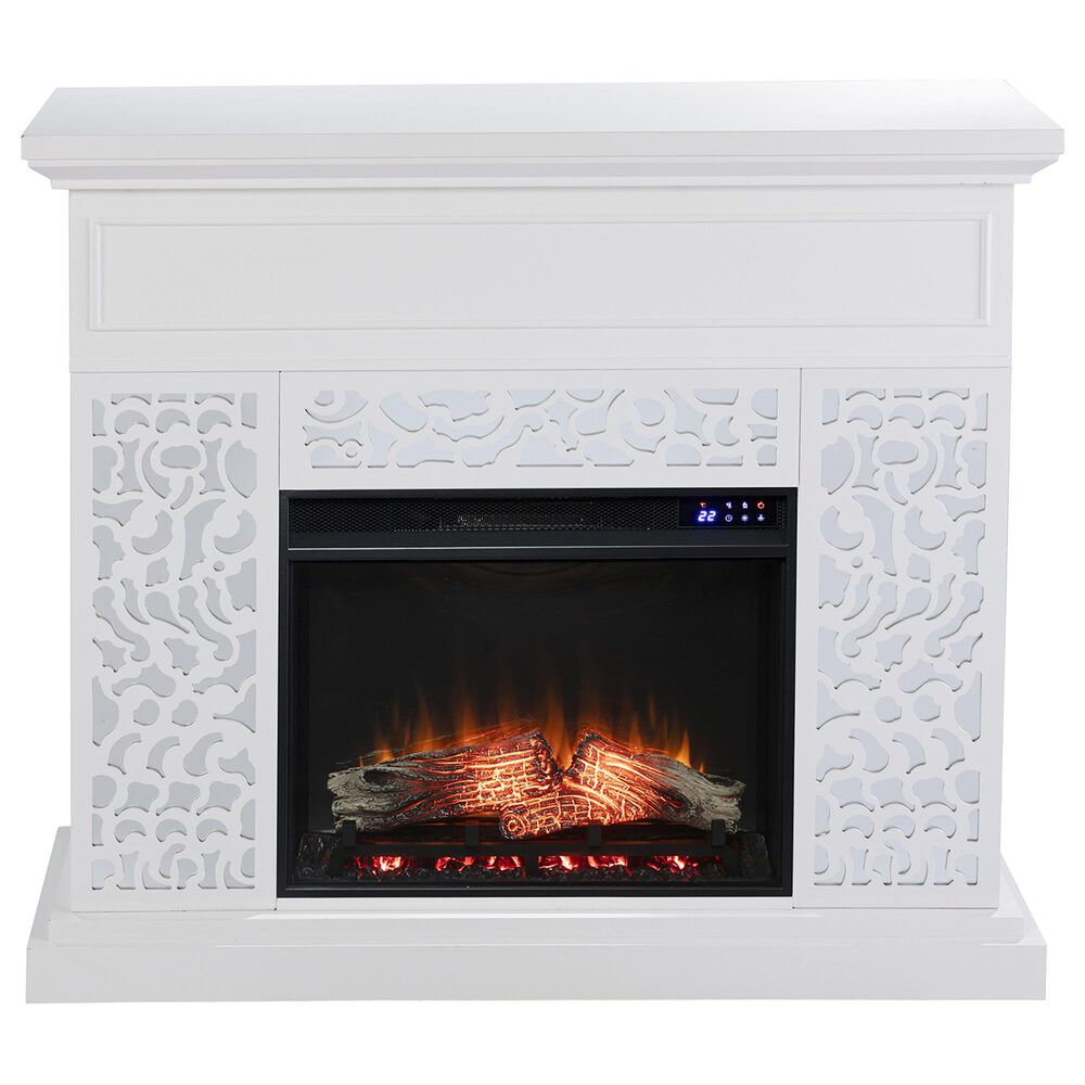 Southern Enterprises Wansford Electric Fireplace in White/Mirror, , large