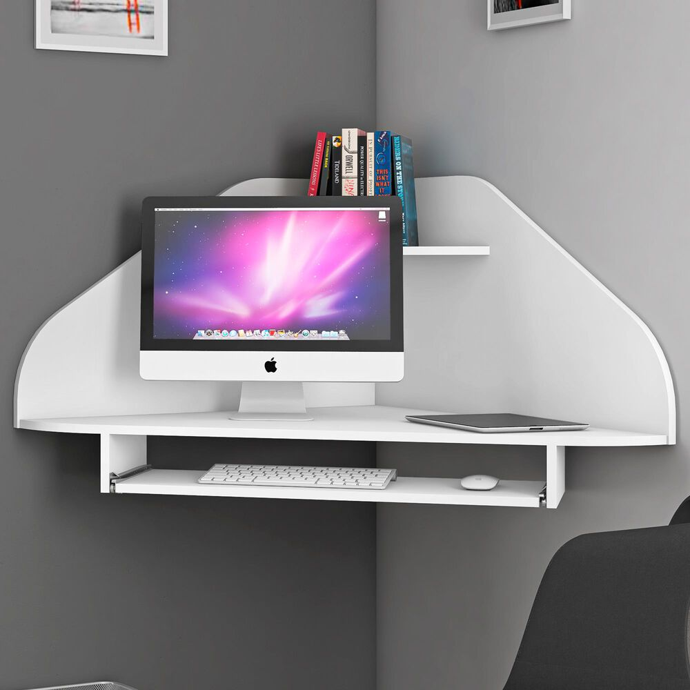 Dayton Bradley Floating Corner Desk in White, , large