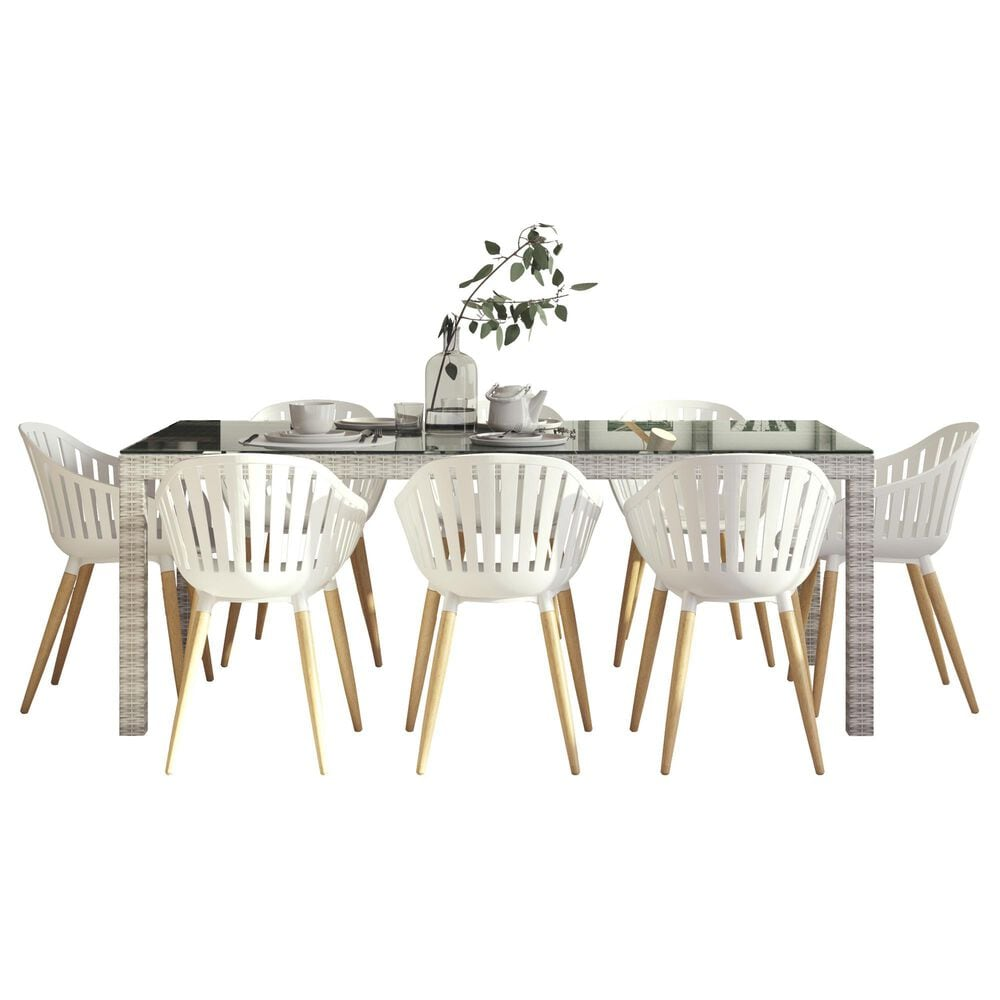 International Home Miami Midtown Mid-Century Modern Standard Concept 9-Piece Dining Set in Grey, Brown and White, , large