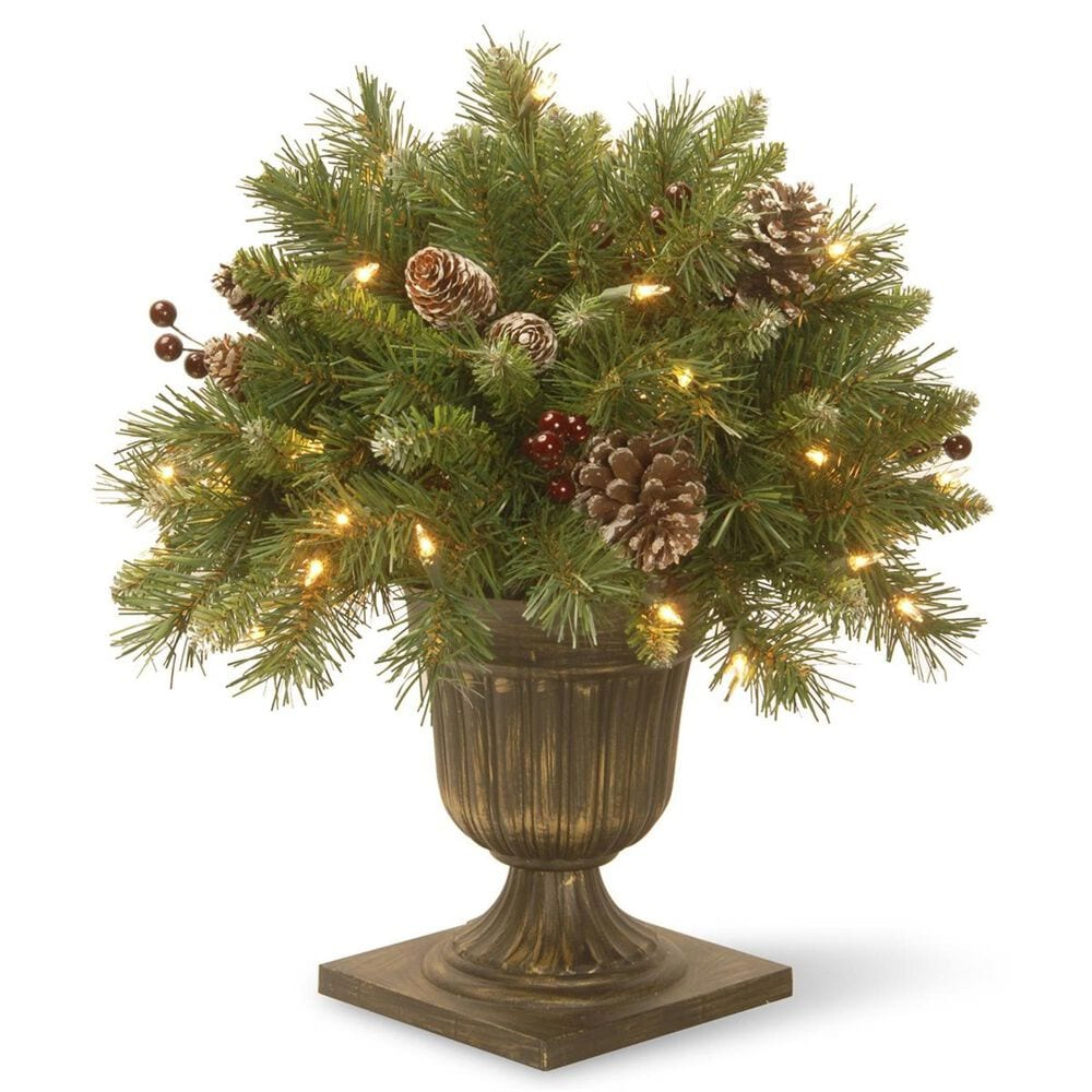 """National Tree 18"""" Frosted Berry Porch Bush with Cones & Red Berries with 35 Clear Lights, , large"""