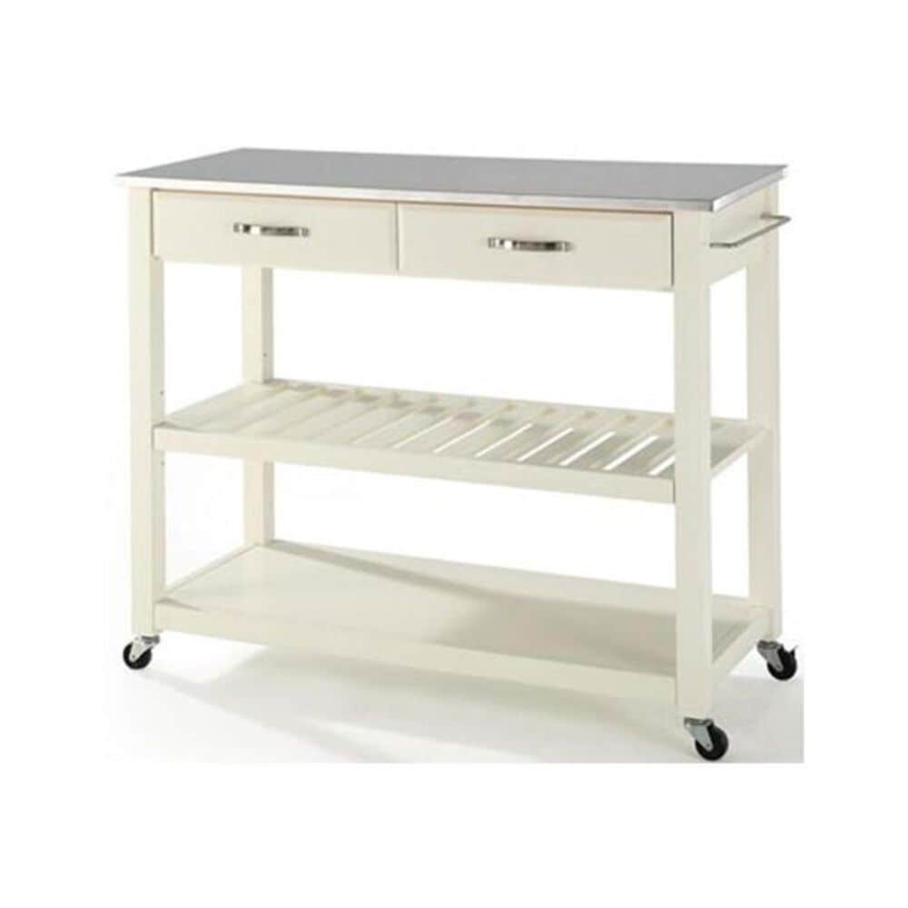 Crosley Furniture White Stainless Steel Top Kitchen Cart, , large