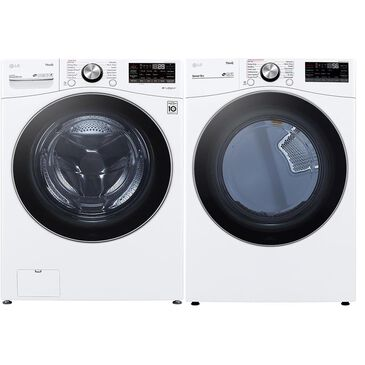 LG 5.0 Cu. Ft. Front Load Washer and 7.4 Cu. Ft. Electric Dryer with TurboWash 360 Laundry Pair in White, , large