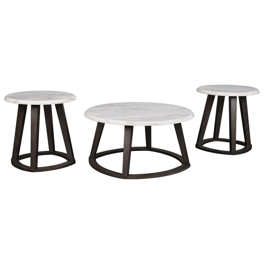 Signature Design by Ashley Luvoni 3-Piece Table Set in White and Dark Charcoal Gray, , large