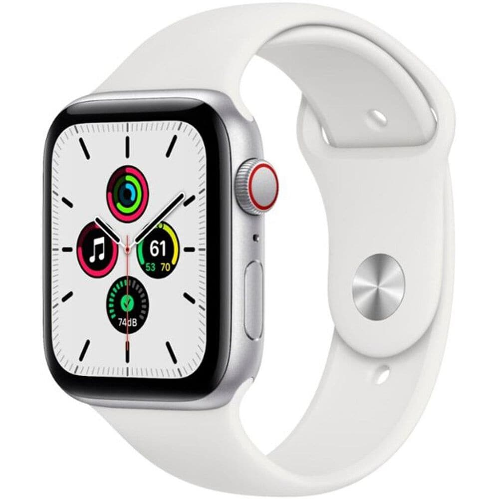 Apple Watch SE GPS + Cellular, 40mm (Latest Model) Silver Aluminum Case with White Sport Band - Regular, , large