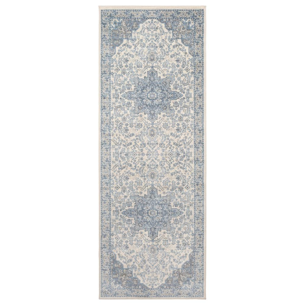 """Surya Monaco MOC-2313 2'6"""" x 8' Bright Blue and Cream Scatter Rug, , large"""