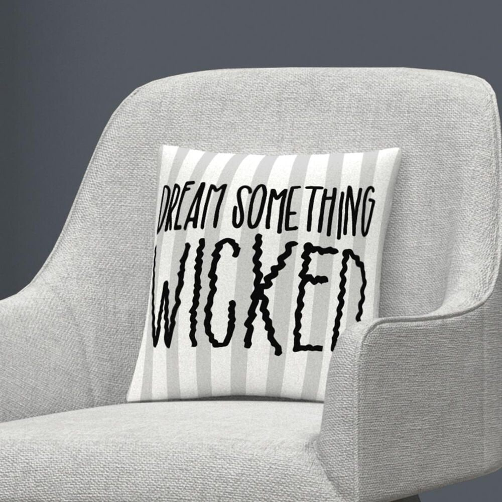 """Timberlake Dream Something Wicked Typographic Gray Halloween By ABC 16"""" Decorative Throw Pillow, , large"""