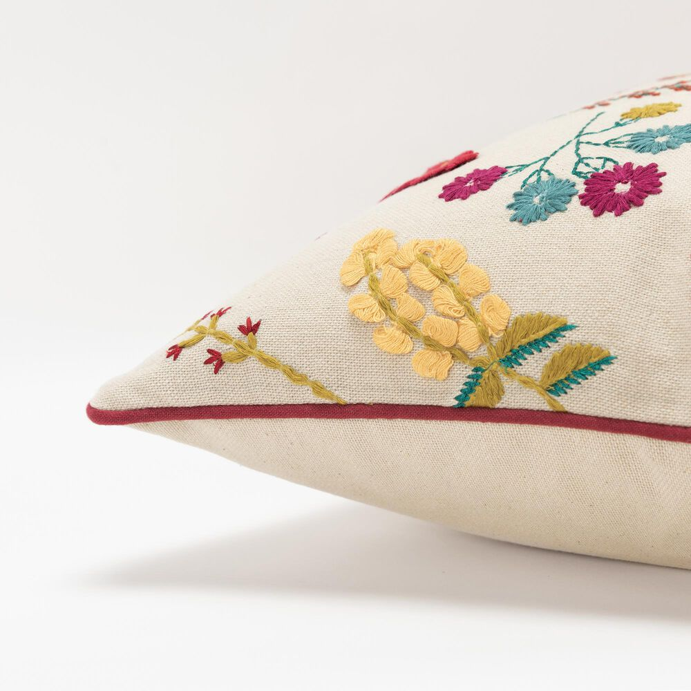 """Rizzy Home Floral 20"""" Down Filled Pillow in Natural, , large"""