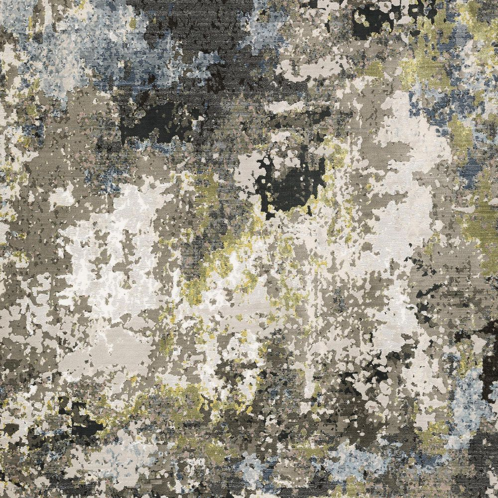 """Oriental Weavers Caravan Abstract Painted 5'3"""" x 7'6"""" Grey and Green Area Rug, , large"""
