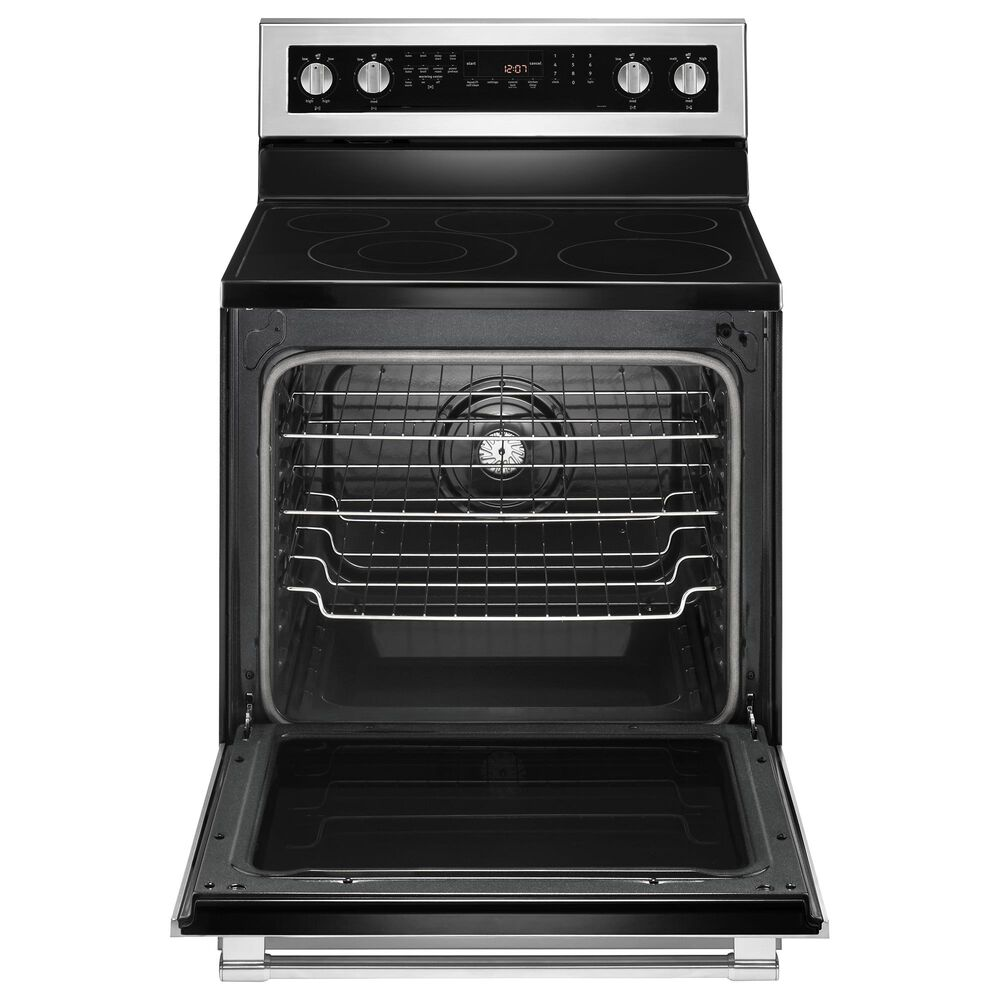 """Maytag 4-Piece Kitchen Package with 36"""" Side-by-Side Refrigerator and 6.4 Cu. Ft. Electric Range in Stainless Steel, , large"""