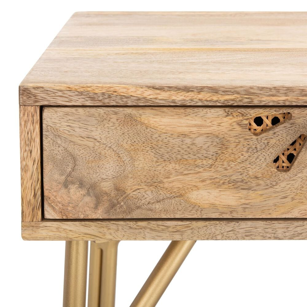Safavieh Lily 2-Drawer Desk in Natural/Brass, , large