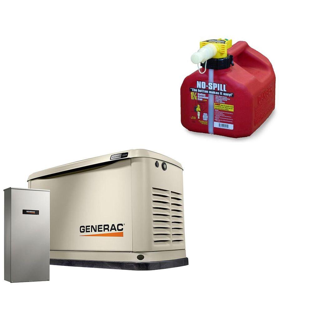 Generac 13000-Watt Home Backup Generator + 1 1/4 Gallon No Spill Gas Can, , large