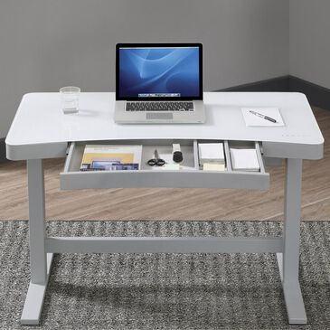 Fabio Flames Ashford Adjustable Height Desk in High Gloss White, , large