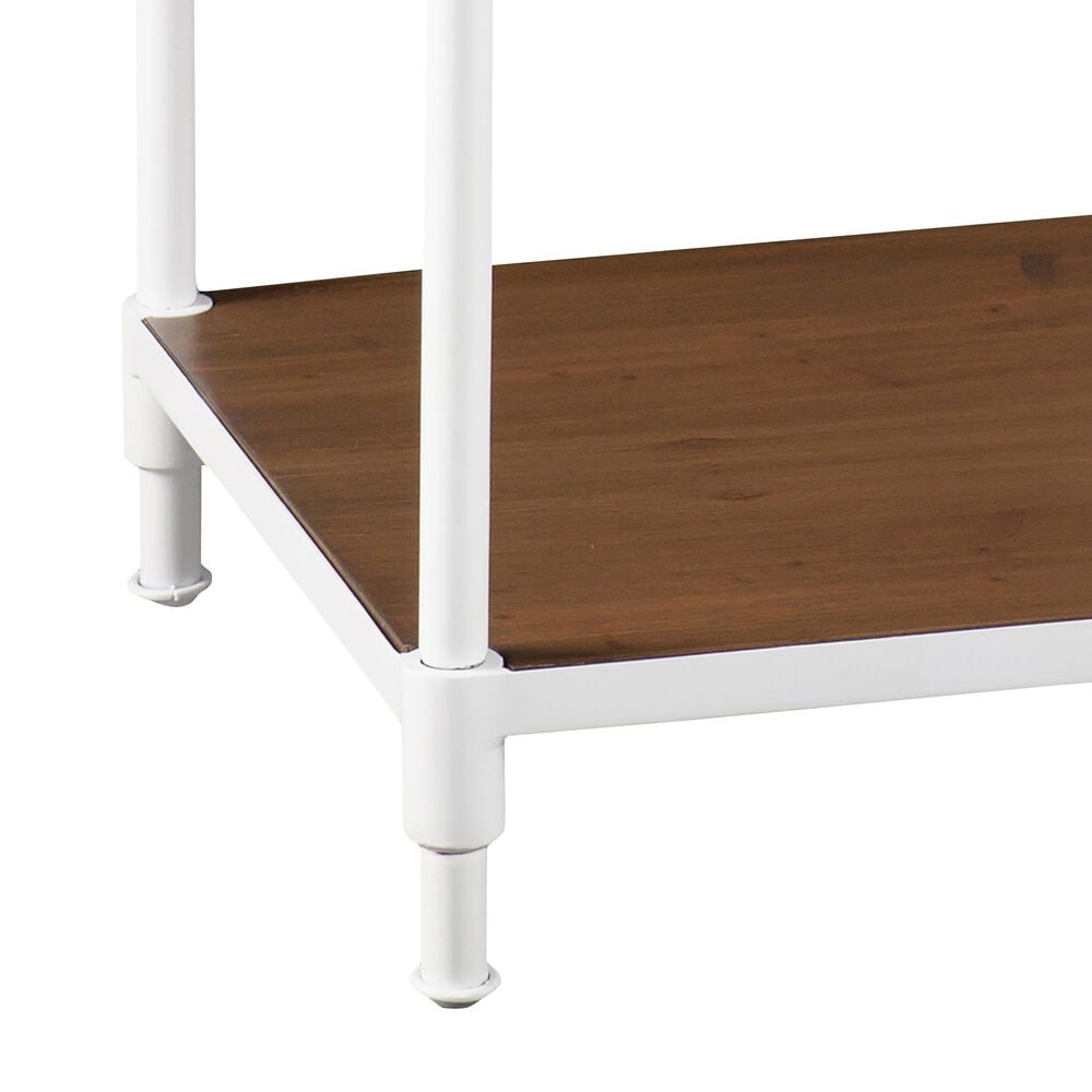 Southern Enterprises Kiev End Table in White and Dark Pine, , large