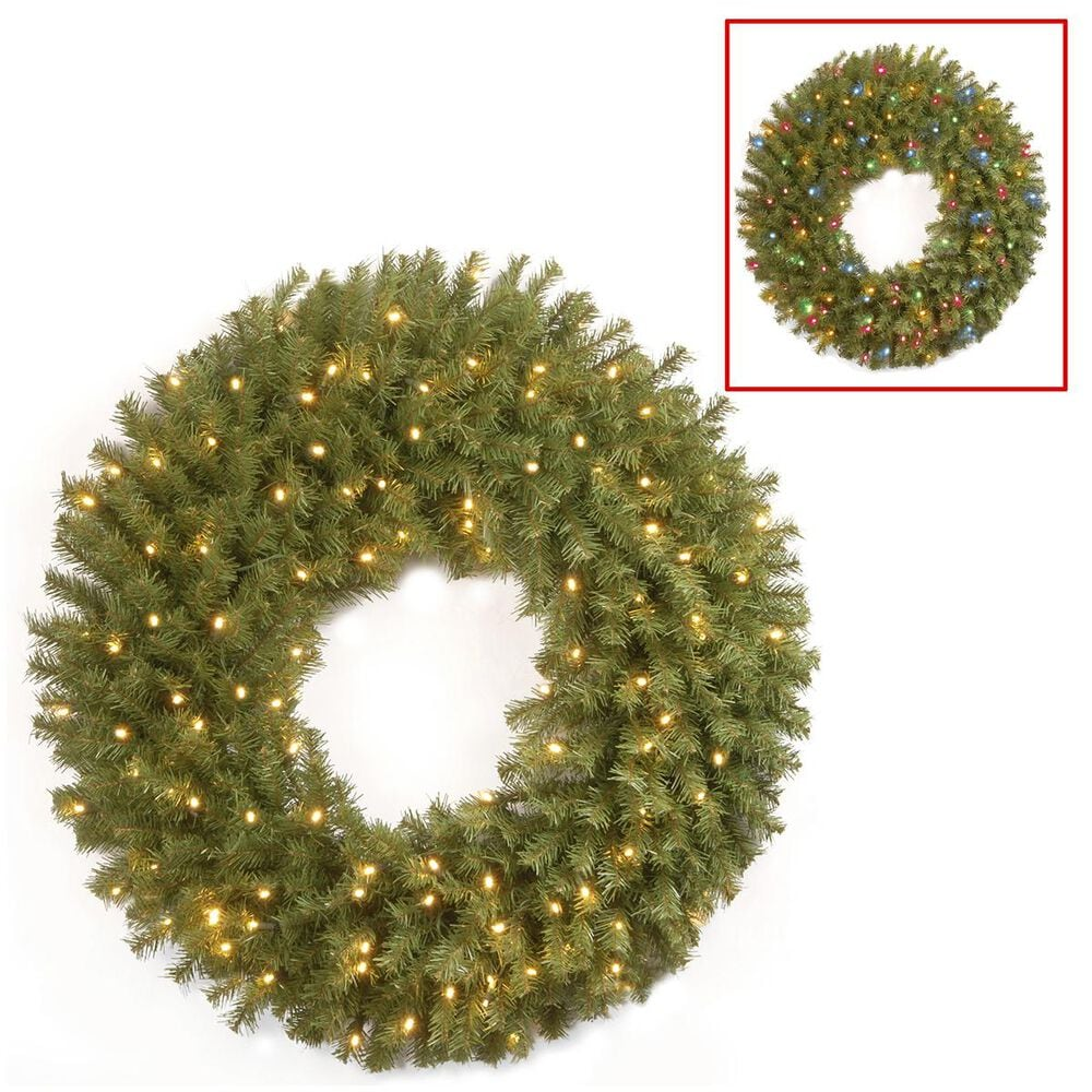 """National Tree 36"""" Norwood Fir Wreath with Battery Operated Dual Color LED Lights, , large"""