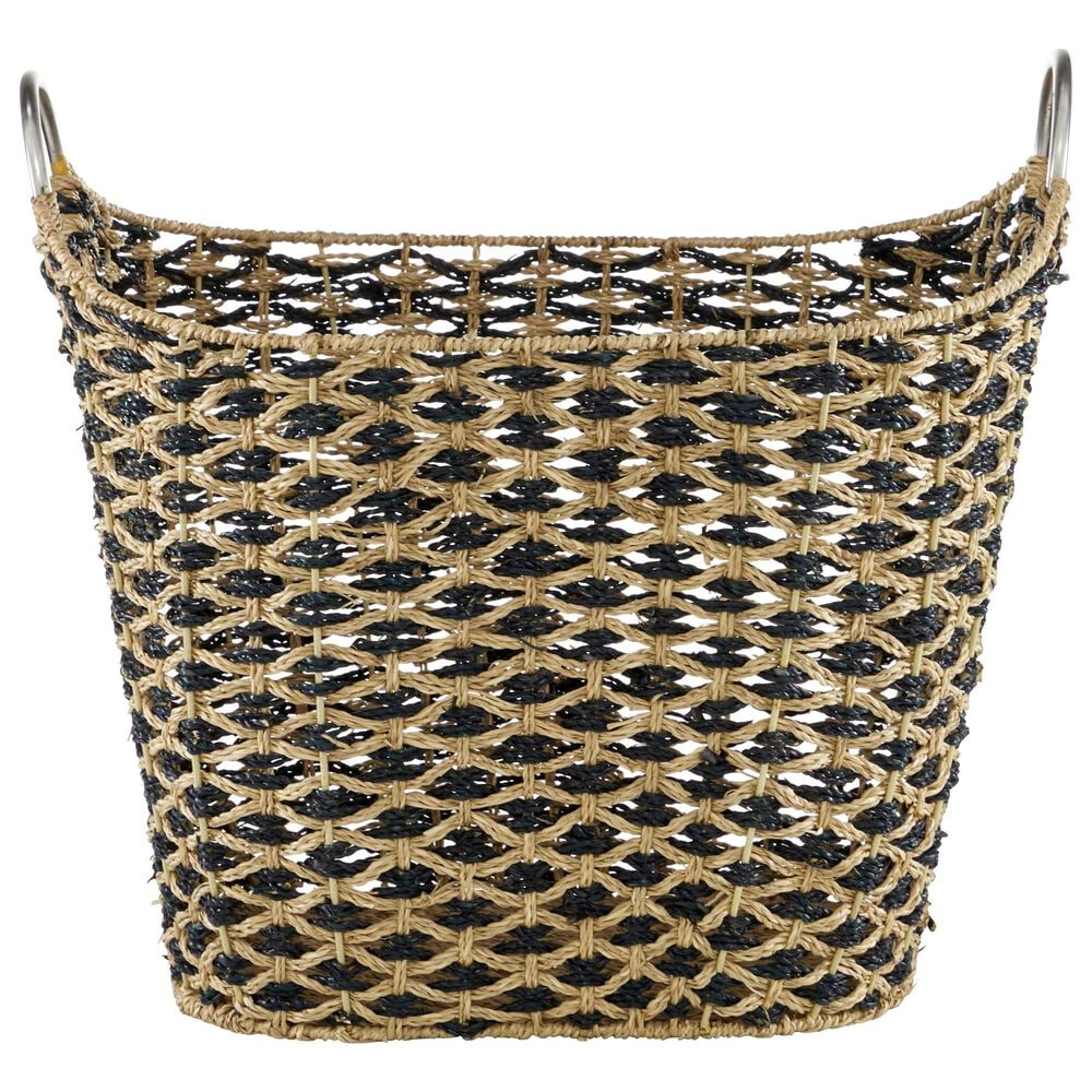 """Maple and Jade 18"""" Bohemian Seagrass Woven Storage Basket in Natural Brown, , large"""