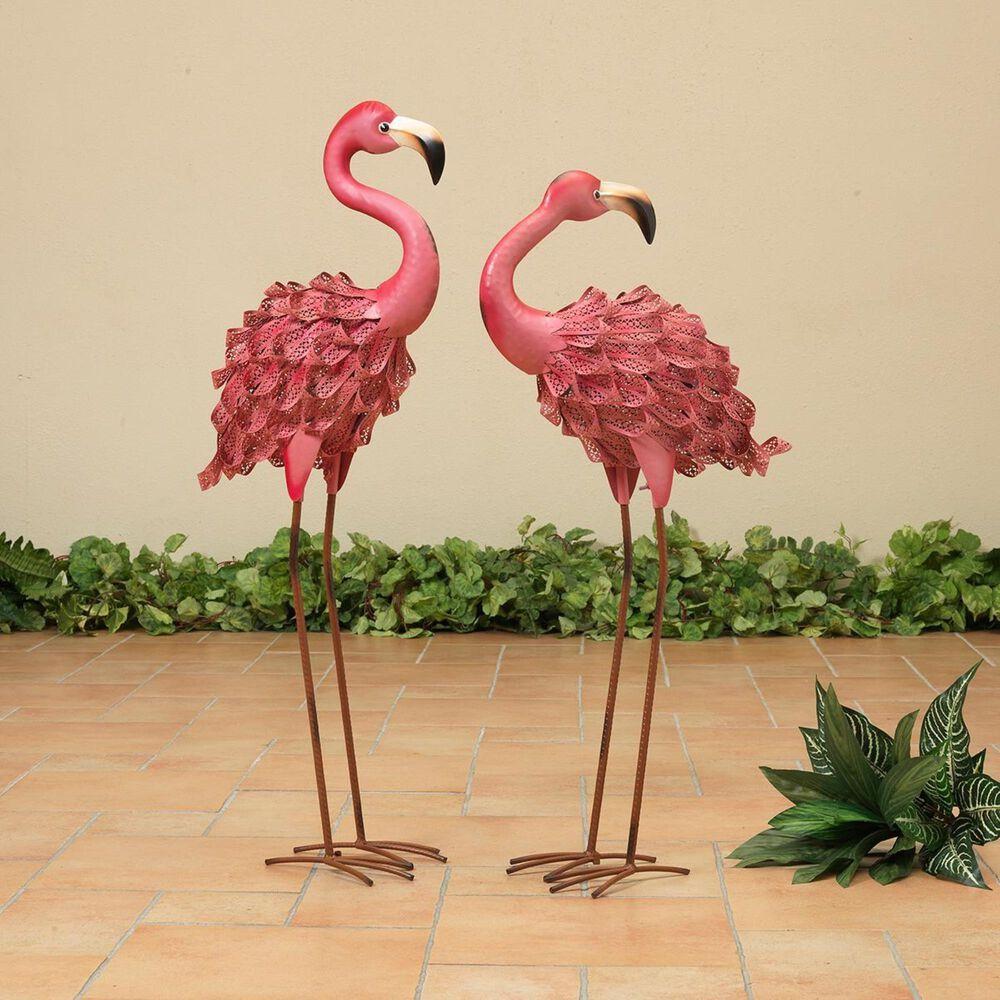"The Gerson Company 2-Piece 34.6"" Flamingo Figurines, , large"