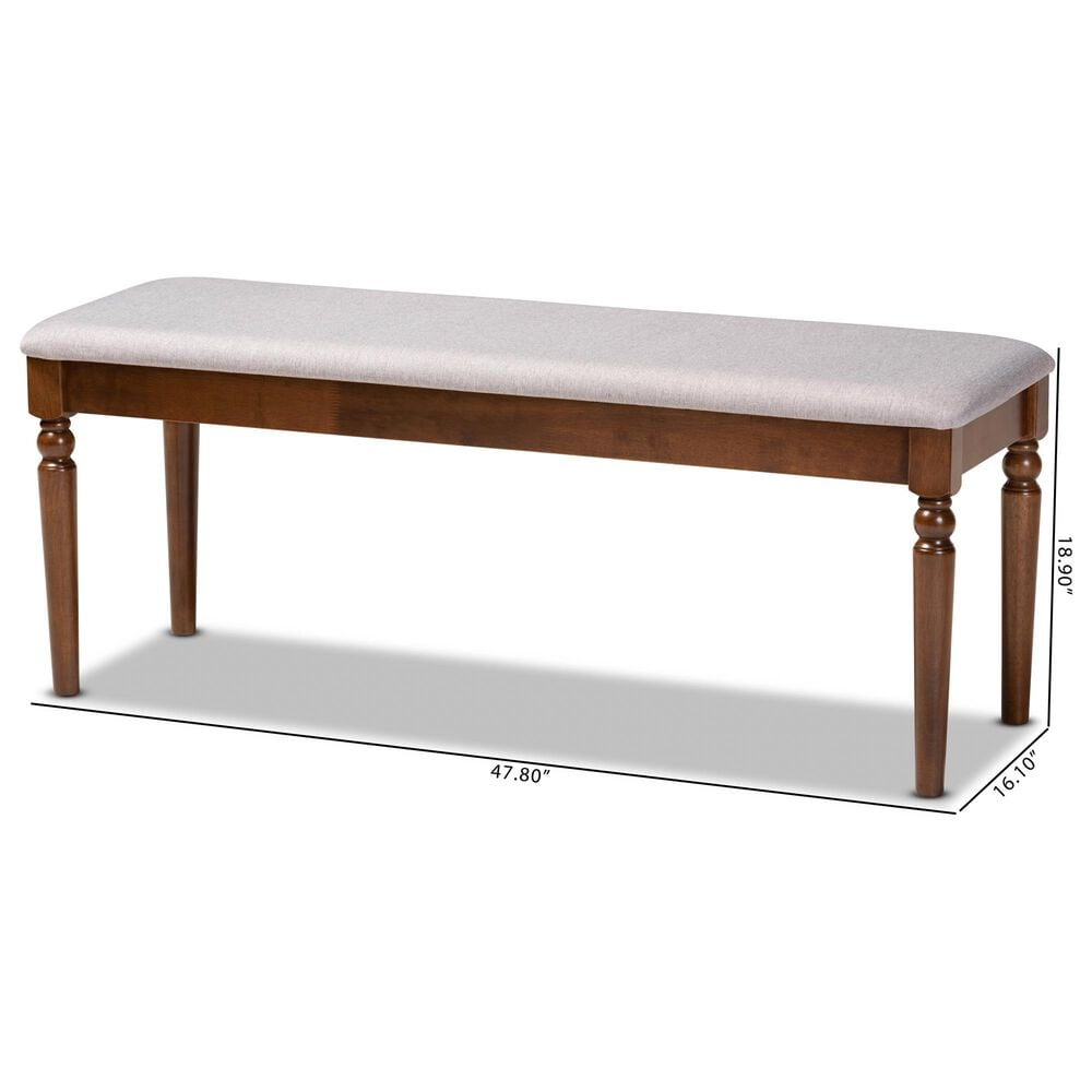 Baxton Studio Giovanni Dining Bench in Grey/Walnut, , large