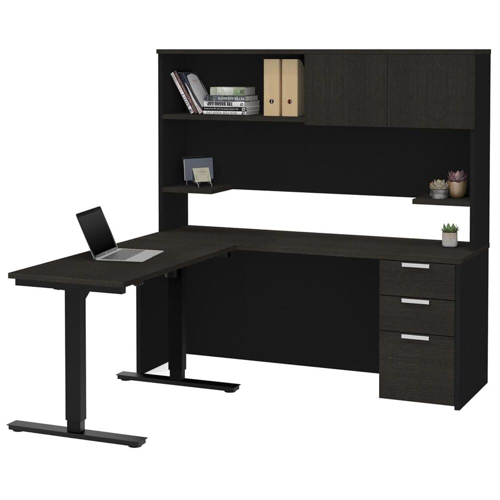 Bestar Pro-Concept Plus Adjustable Desk with Hutch in Deep Grey and Black, , large