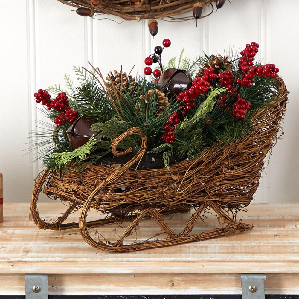 Nearly Natural Inc 18in. Christmas Sleigh with Pine, Pinecones and Berries Artificial Christmas Arrangement, , large