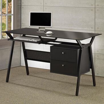 Pacific Landing Metal and Glass Computer Desk with Two Storage Drawers, , large