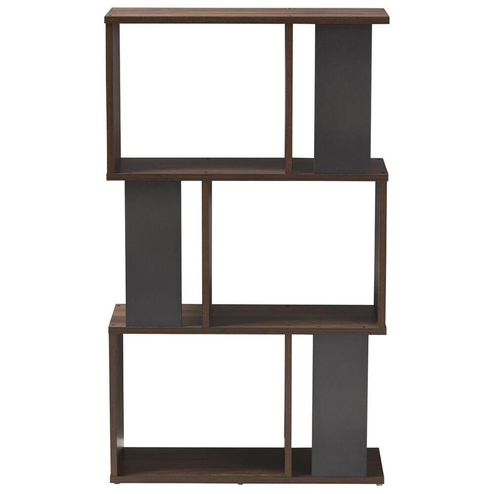Baxton Studio Legende Display Bookcase in Walnut Brown/Dark Grey, , large