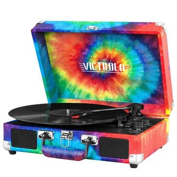 Victrola Bluetooth Suitcase Record Player with 3-speed Turntable in Rainbow Tie Die, , large
