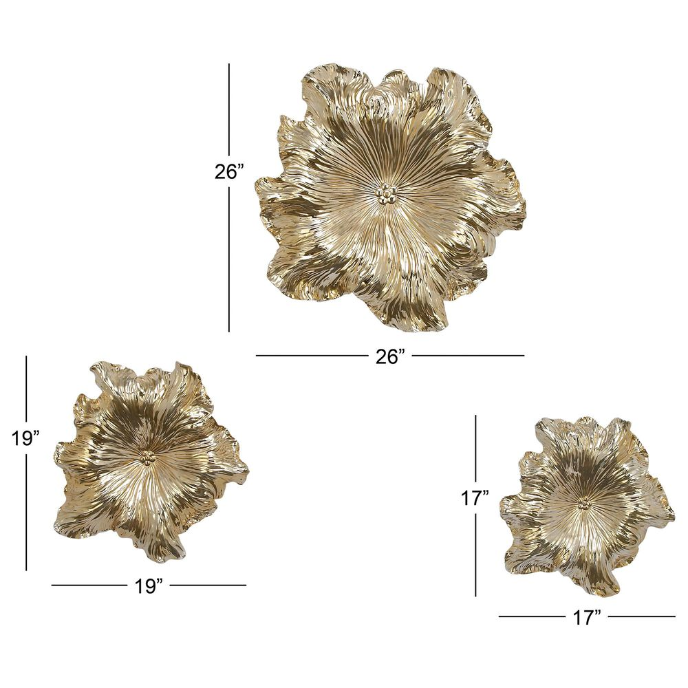 Maple and Jade Eclectic Polystone Wall Decor in Gold (Set of 3), , large