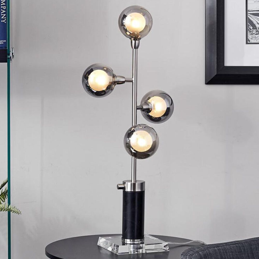 Adesso Calder Led Table Lamp in Black and Brushed Steel, , large